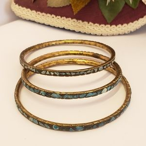 3 Vintage India Turquoise Chip Bangle Bracelets